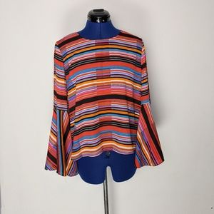 Vince Camuto stripped blouse with bell sleeves